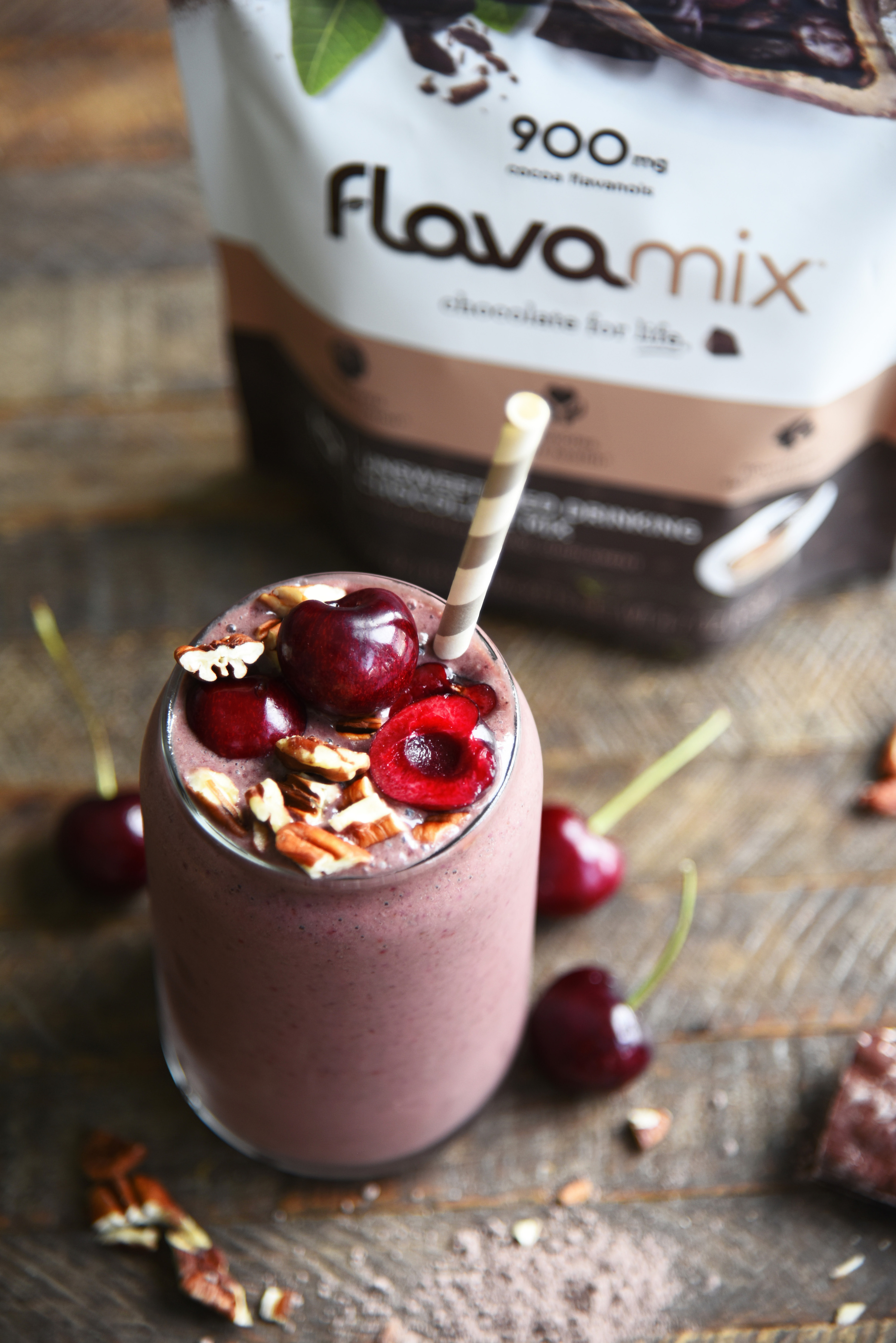 Chocolate Cherry Pecan Smoothie Recipe with FlavaMix Unsweetened Drinking Chocolate - 900mg Cocoa Flavanols
