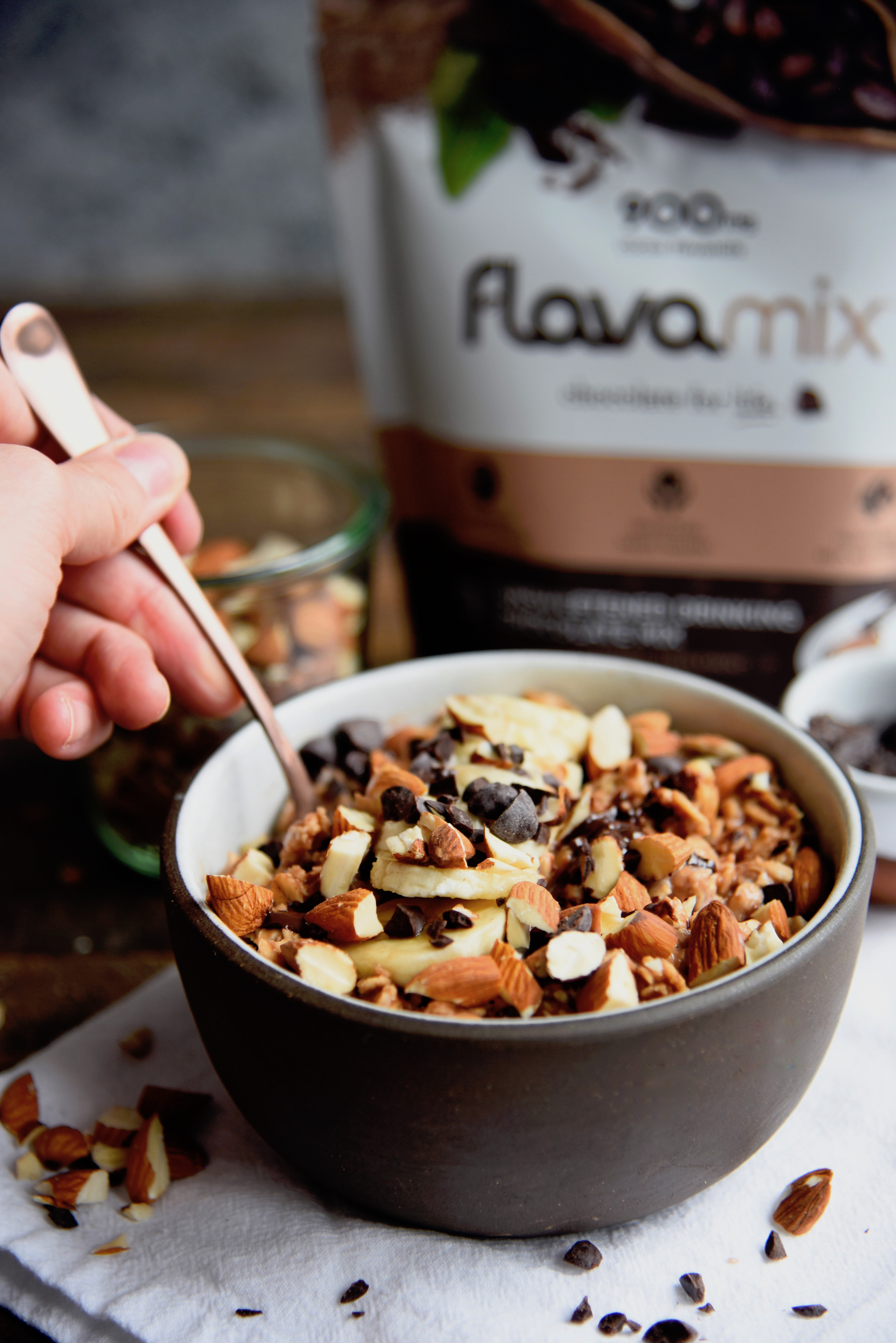 Chocolate Almond Oatmeal Recipe with FlavaMix Unsweetened Drinking Chocolate, 900mg Cocoa Flavanols