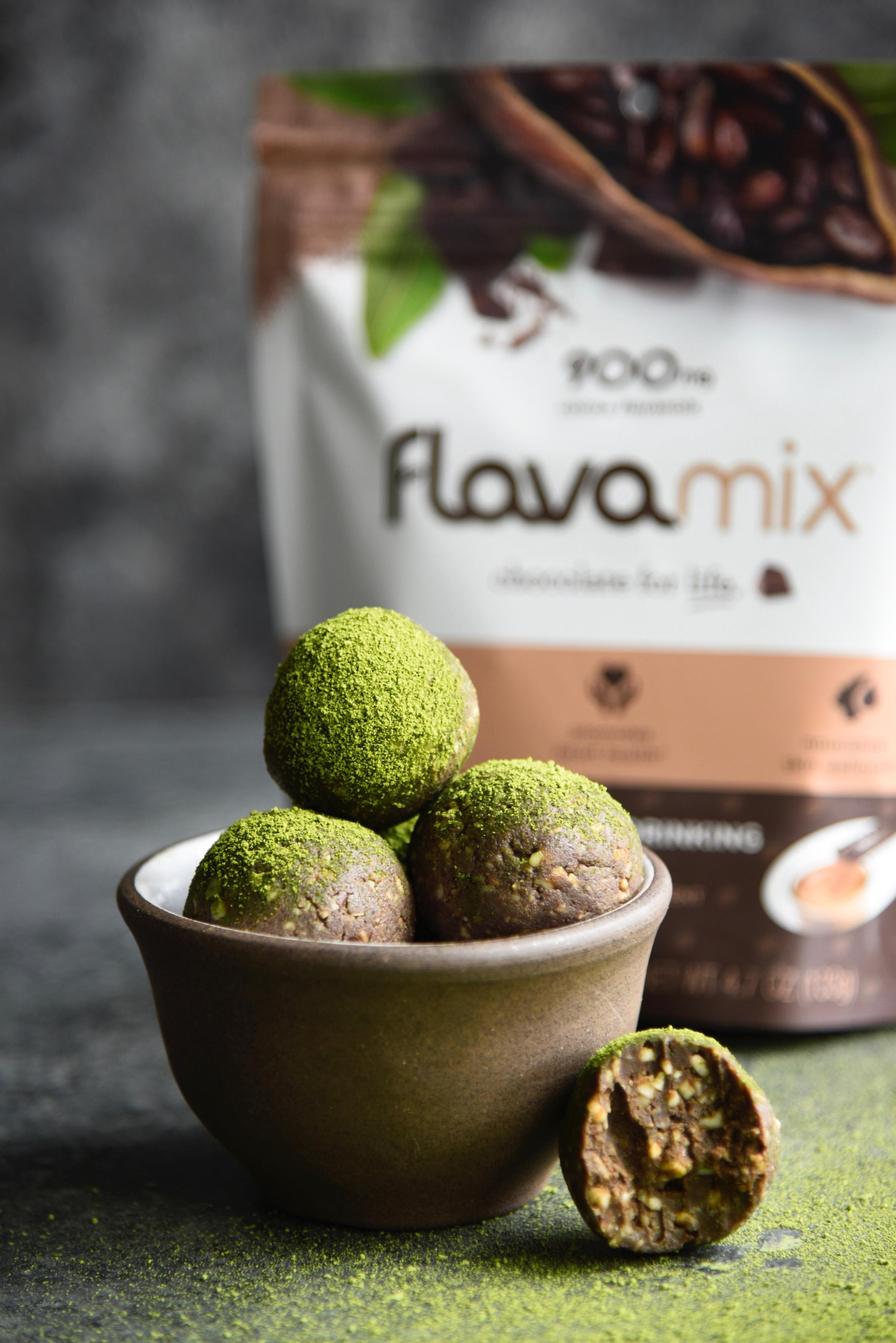 Chocolate Matcha Energy Bites with FlavaMix Unsweetened Drinking Chocolate, 900mg Cocoa Flavanols