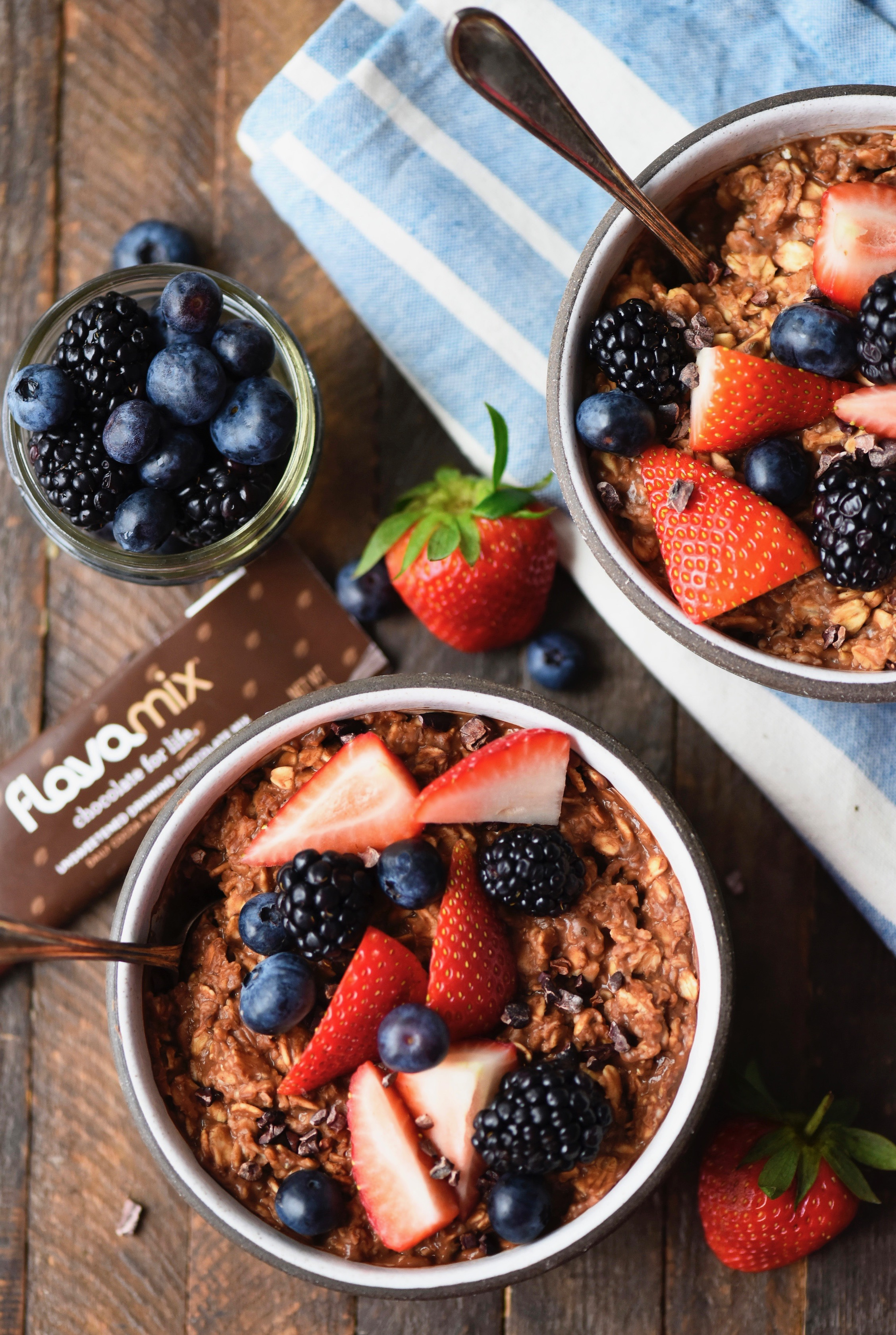 Chocolate Oatmeal with Fresh Berries, FlavaMix Unsweetened Drinking Chocolate, 900mg Cocoa Flavanols
