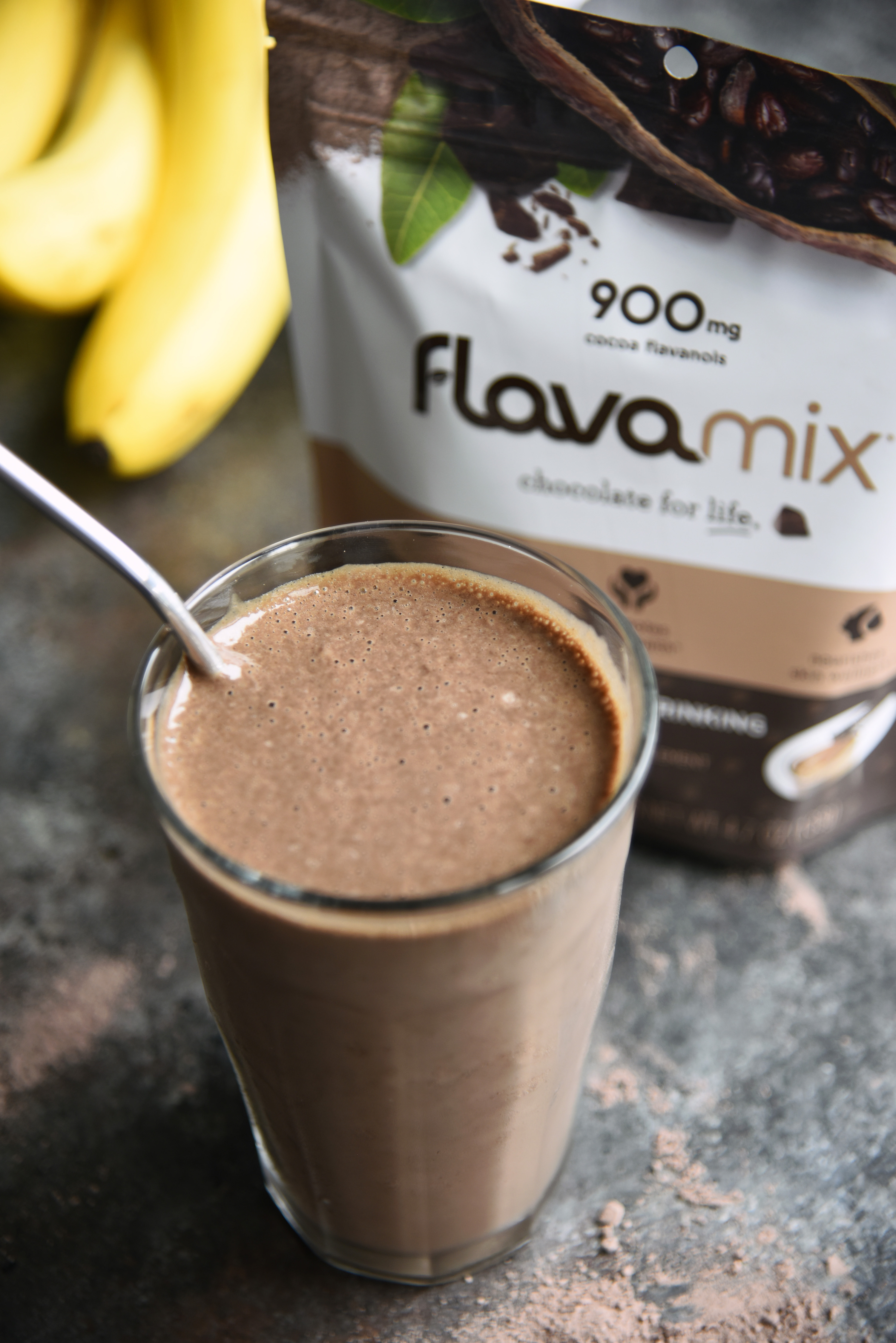Easy Chocolate Protein Smoothie with FlavaMix Unsweetened Drinking Chocolate and 900mg Cocoa Flavanols