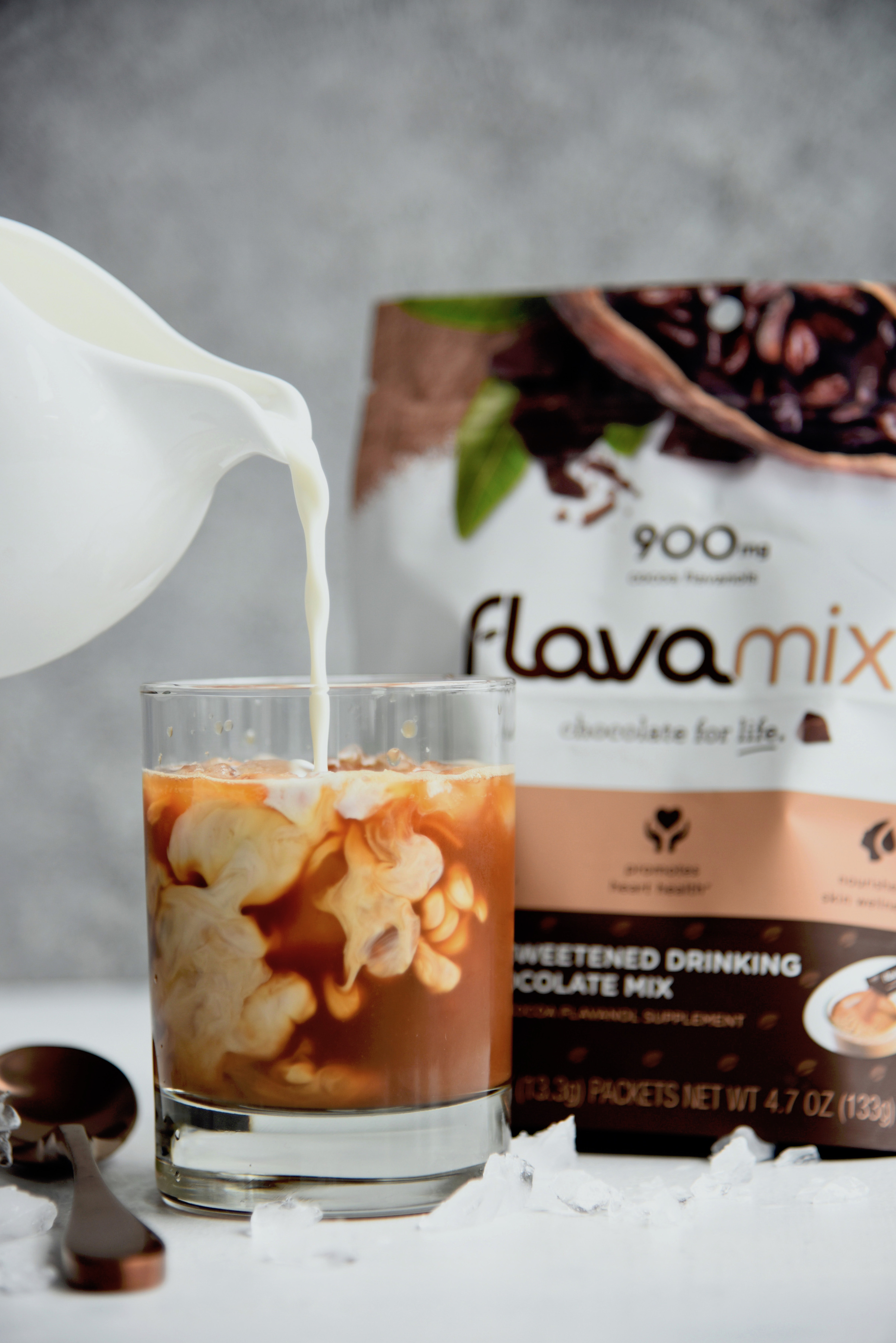 Café Mocha (Iced or Warm) with FlavaMix Unsweetened Drinking Chocolate and 900mg Cocoa Flavanols